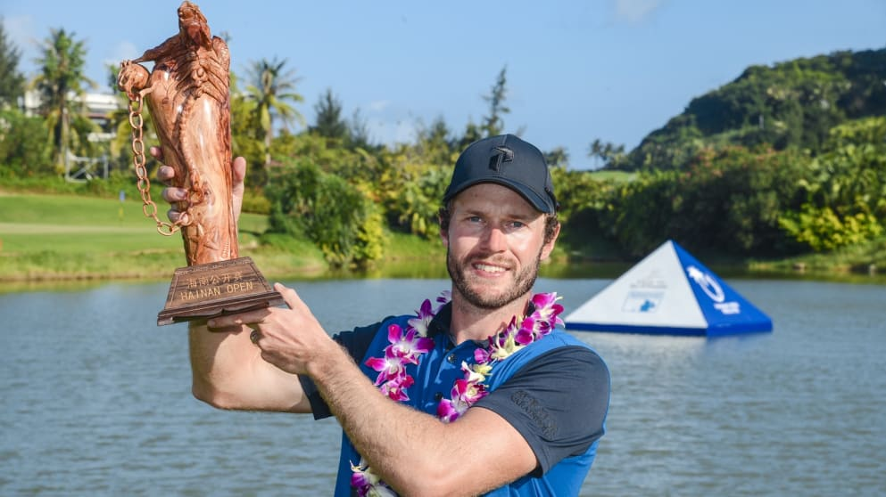 Kalle Samooja with the Hainan Open trophy