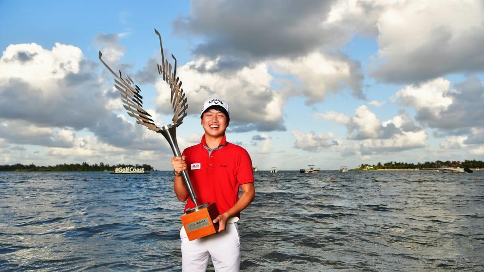 Jeunghun Wang celebrates his win in Mauritius